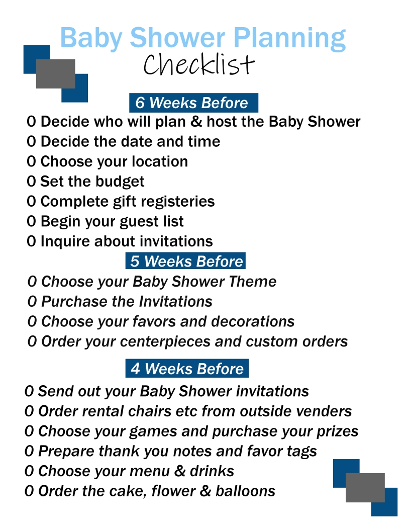Baby shower printable checklist