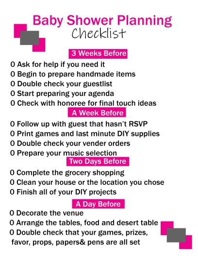 baby shower planning printables