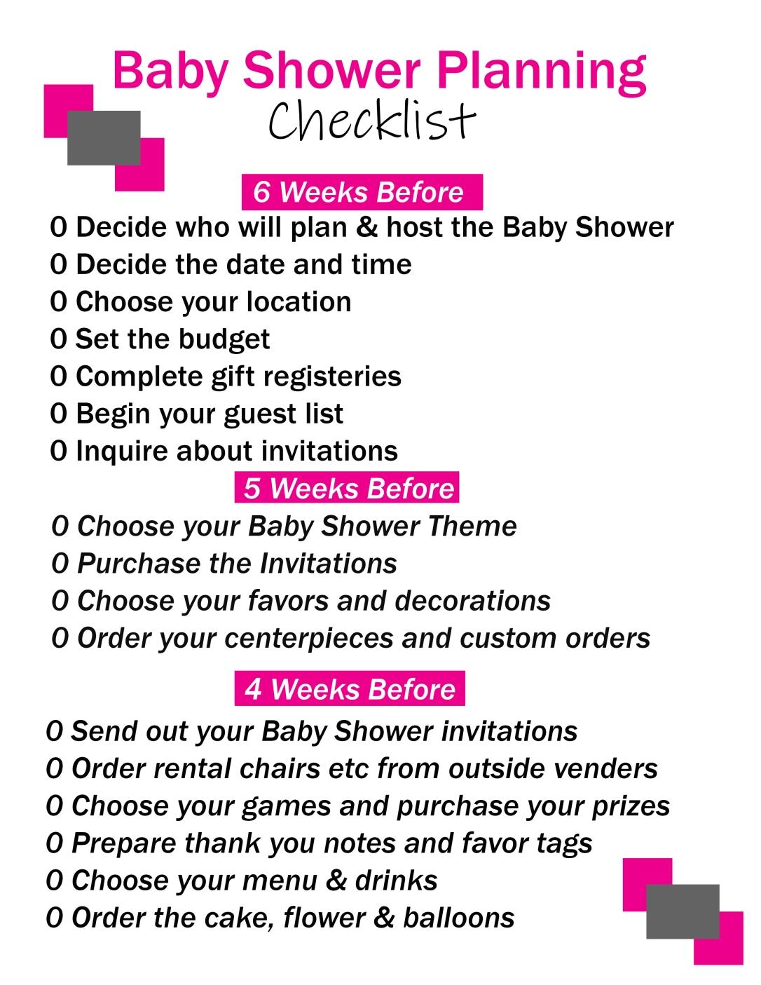 Baby Shower Checklist Printable