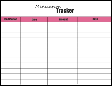 medication tracker pink and black